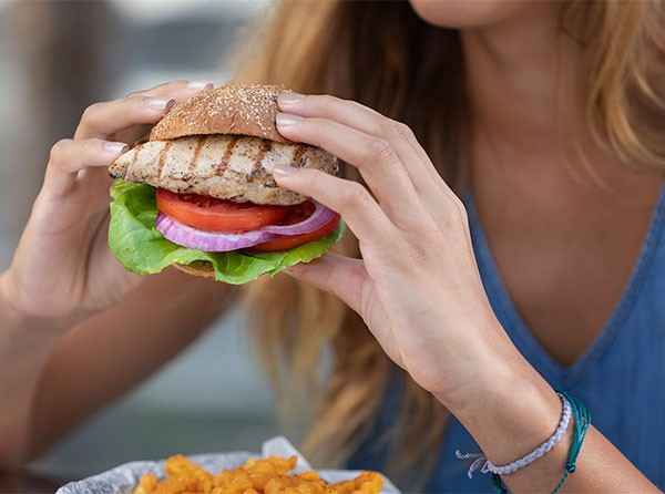Grilled Chicken Sandwich with Roasted Sweet Potato Fries